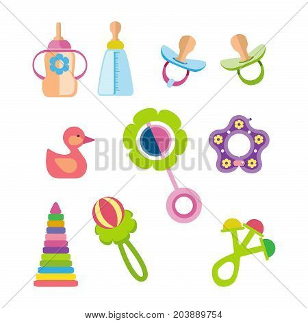 Set of kids, children toys and accessories concept. Children's toys and accessories for newborns. Toys, rattles, bottles, nipples, pyramids. Vector illustration isolated on white background.