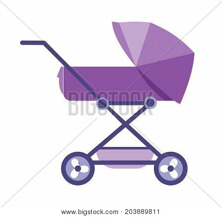 Kids, children toys and accessories concept. Beautiful modern baby stroller, for transporting small children with comfort. Vector illustration isolated on white background.