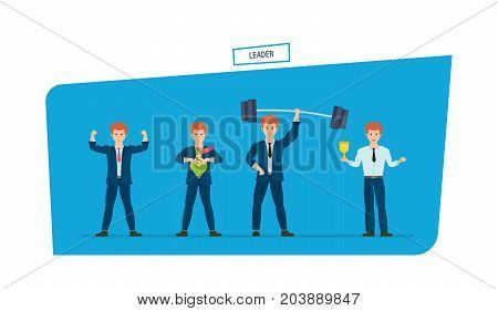 Set of businessman is superhero, in various poses. Leader, leadership qualities, dedication, ability to achieve success, successful businessman. Men character person. Illustration in cartoon style.