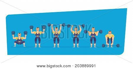 Set of circus concept. Male athlete character person, tighten belt in striped suit, entertains and amuses audience, showing strength exercises with dumbbells, in different poses. Vector illustration.