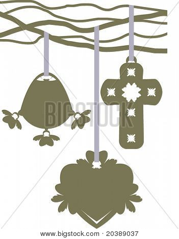 Ornaments in vector format, Easter theme. Put your text in the shape or on the ribbons.