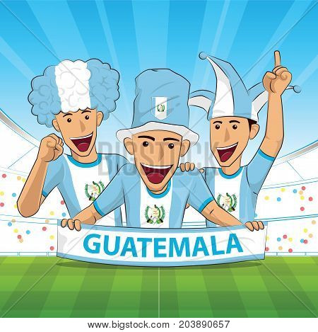 guatemala Flag. Cheer football support Vector illustration.