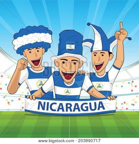 nicaragua Flag. Cheer football support Vector illustration.