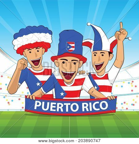 puerto rico Flag. Cheer football support Vector illustration.