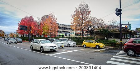 Vehicles On Street At Downtown In Kyoto, Japan