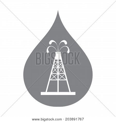 Stylized Icon Of The Oil Rig With Fountains Spurting Up Oil With Oil In The Color Of Fuel Drop