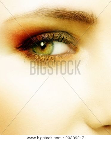 green eye with dramatic red and golden make-up