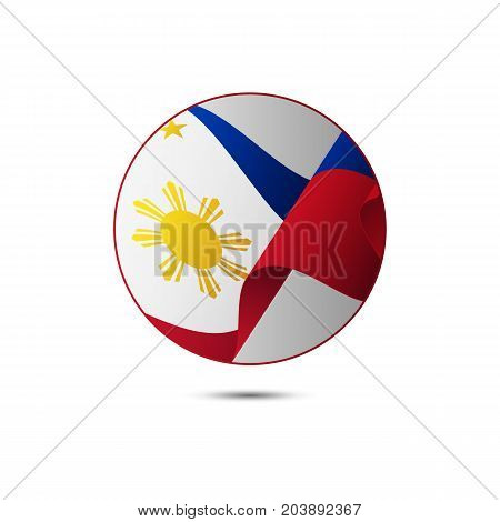 Philippines flag button with shadow on a white background. Vector illustration.