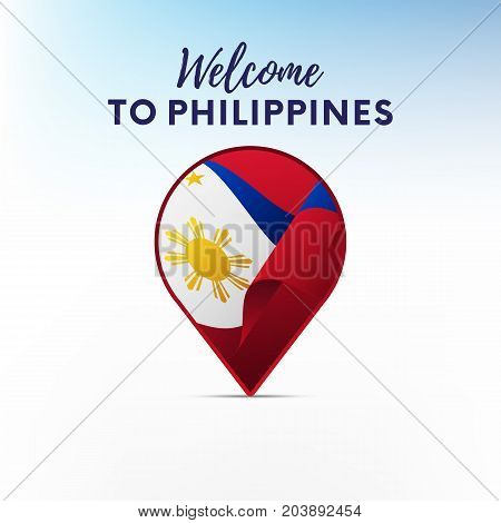 Flag of Philippines in shape of map pointer or marker. Welcome to Philippines. Vector illustration.