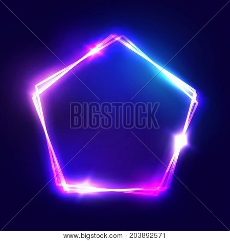 Abstract neon pentagon electric frame. Night Club Sign. 3d Retro Light Signboard With Shining Neon Effect. Techno Frame With Glowing On Dark Blue Backdrop. Colorful Vector Illustration in 80s Style.
