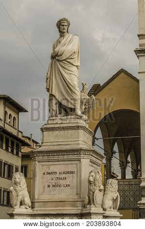 Close-up of the statue of Dante Alighieri which is adjacent to the cathedral of Florence where his remains rest