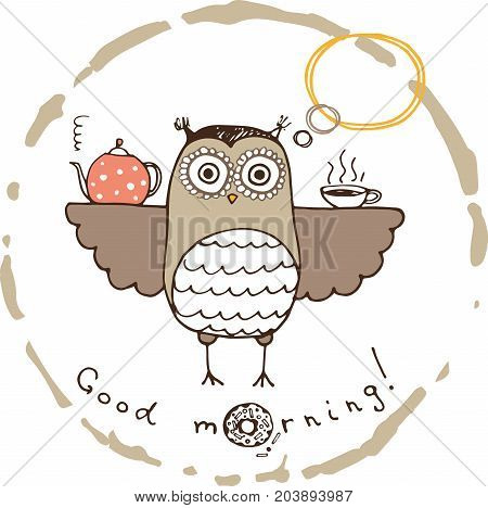 hand drawn card with funny owl and morning cup of tea
