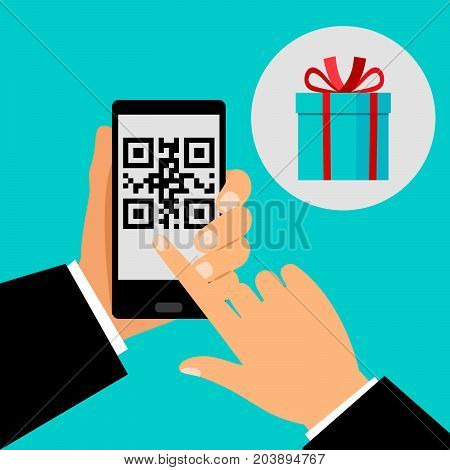 Hand holding smartphone with QR code on screen and gift, vector illustration