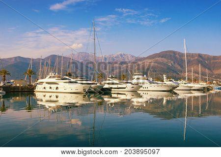 Porto Montenegro - yacht marina in the Adriatic. Bay of Kotor, Tivat, Montenegro