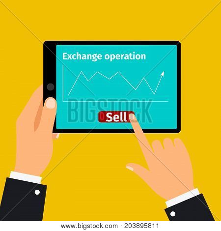 Tablet with stock exchange selling graphic on screen, vector illustration