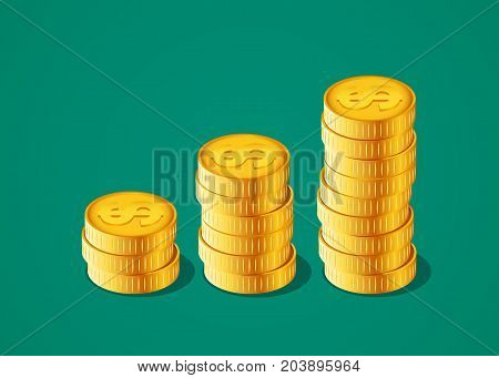 Vector financial growth concept with stacks of golden coins. Vector illustration