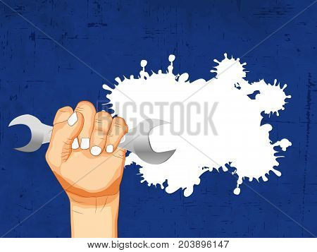 illustration of hand holding spanner on the occasion of Australia Labor Day
