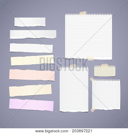 Torn ruled, note, notebook, copybook paper strips, sheets stuck with sticky tape on gray background