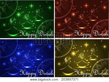 Happy Diwali. Light Background. Three Lampadka, An Oil Lamp With A Burning Fire On An Emerald, Red,