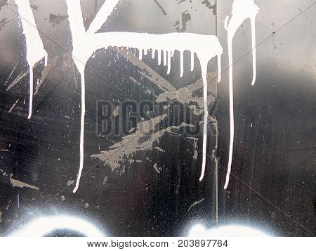 Grunge Textured Background With Streaks Of White Paint On The Metal Fence. The Style Of The Landscap