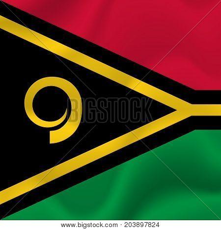 Vanuatu waving flag. Waving flag. Vector illustration.