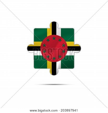 Isolated piece of puzzle with the Dominica flag. Vector illustration.