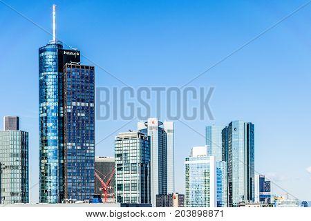 Frankfurt, Germany - July 27, 2017: Frankfurt at Main skyline. Financial center of Germany.