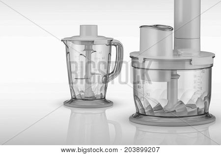 modern food processor on a light background with reflection