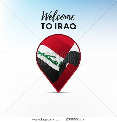 Flag of Iraq in shape of map pointer or marker. Welcome to Iraq. Vector illustration.