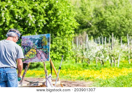 Ile D'Orleans Canada - June 1 2017: Artist man with painting on easel by countryside landscape in summer and trail path road with dandelion flowers apple tree orchard during summer sunny day