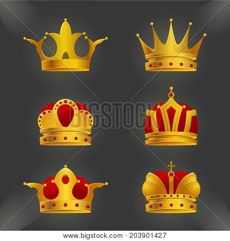 Set of golden crown icons isolated on background. Realistic diadems created by gradient. Shiny jewels collection use for a logo, label, certificate or diploma creation.