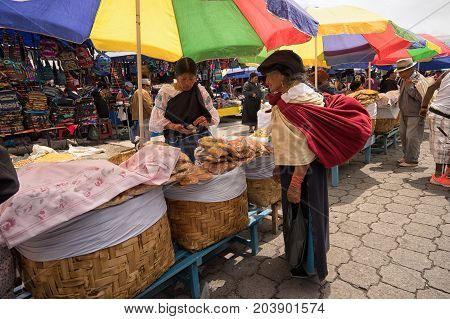 May 6 2017 Otavalo Ecuador: indigenous quichua women in the Saturday market