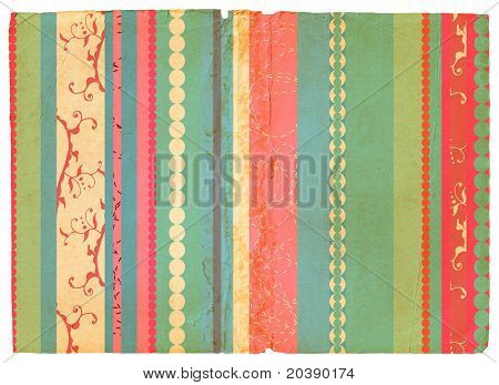 Grunge paper texture with pink and blue retro stripes