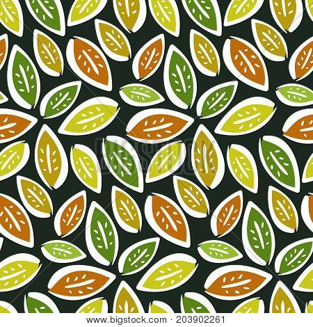 Autumn seamless pattern with hand drawn contrast leaves on dark background. Cute kids texture for textile wrapping paper surface cover web design
