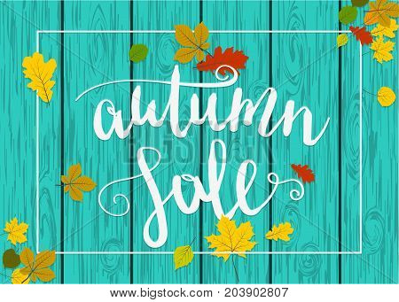 Vintage autumn wooden background. Fall yellow tree maple leafs vector design. Season nature border banner. Advertising sale template mock up retro shopping art. Foliage border concept.