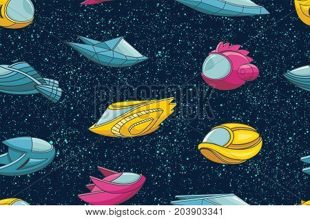 Seamless pattern with spacecrafts and stars. Space background