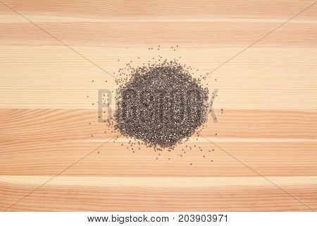 Chia Seeds On Wood
