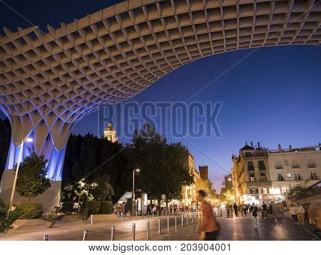 Sevilla, SPAIN - September 9, 2017: View of Metropol Parasol Night , popularly called