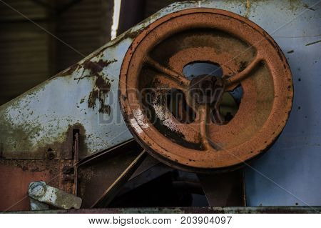 close-up details of old rusty combine harvester