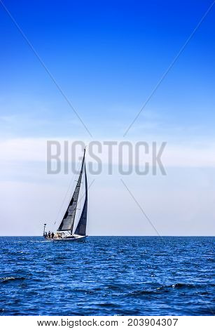 close-up of the yacht in the sea