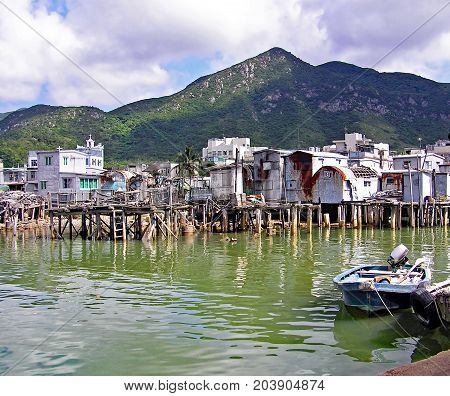 Dilapidated houses on stilts in the fishing village Tai O on the island of Lantau in Hong Kong