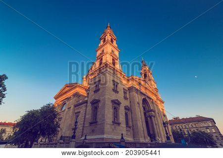 St. Stephen's Basilica roman catholic church building of Budapest in Hungary neo-classic style architecture wide shot