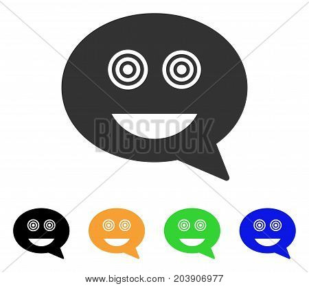 Crazy Smiley Message icon. Vector illustration style is a flat iconic crazy smiley message symbol with black, grey, green, blue, yellow color variants. Designed for web and software interfaces.