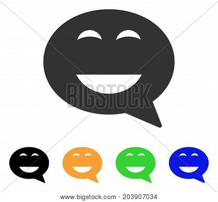 Glad Smiley Message icon. Vector illustration style is a flat iconic glad smiley message symbol with black, grey, green, blue, yellow color versions. Designed for web and software interfaces.