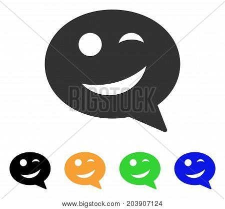 Joke Smiley Message icon. Vector illustration style is a flat iconic joke smiley message symbol with black, grey, green, blue, yellow color variants. Designed for web and software interfaces.