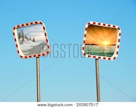 Conceptual image as a choice between winter and summer presented on road mirrors.