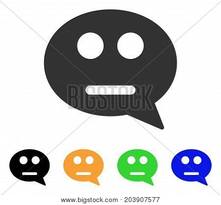 Neutral Smiley Message icon. Vector illustration style is a flat iconic neutral smiley message symbol with black, gray, green, blue, yellow color variants. Designed for web and software interfaces.