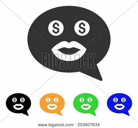 Prostitute Smiley Message icon. Vector illustration style is a flat iconic prostitute smiley message symbol with black, gray, green, blue, yellow color versions.