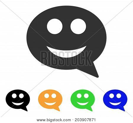 Smile Smiley Message icon. Vector illustration style is a flat iconic smile smiley message symbol with black, gray, green, blue, yellow color versions. Designed for web and software interfaces.