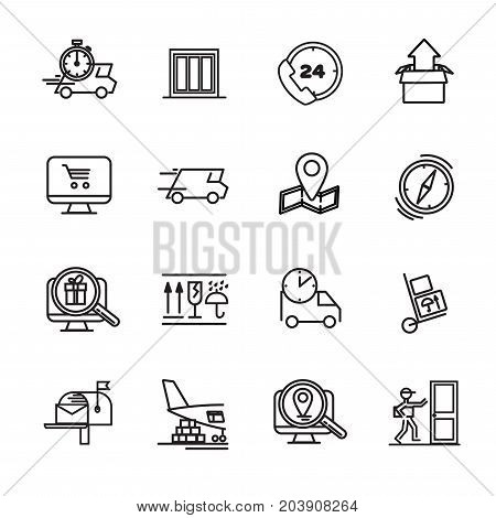 Delivery, transportation, logistics. Icons set for service delivery. Fast delivery and quality service transportation. Shipping for logistic company. Vector illustration Eps10 file